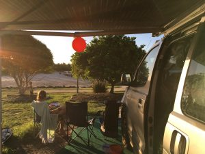 Crescents Head campground in campervan